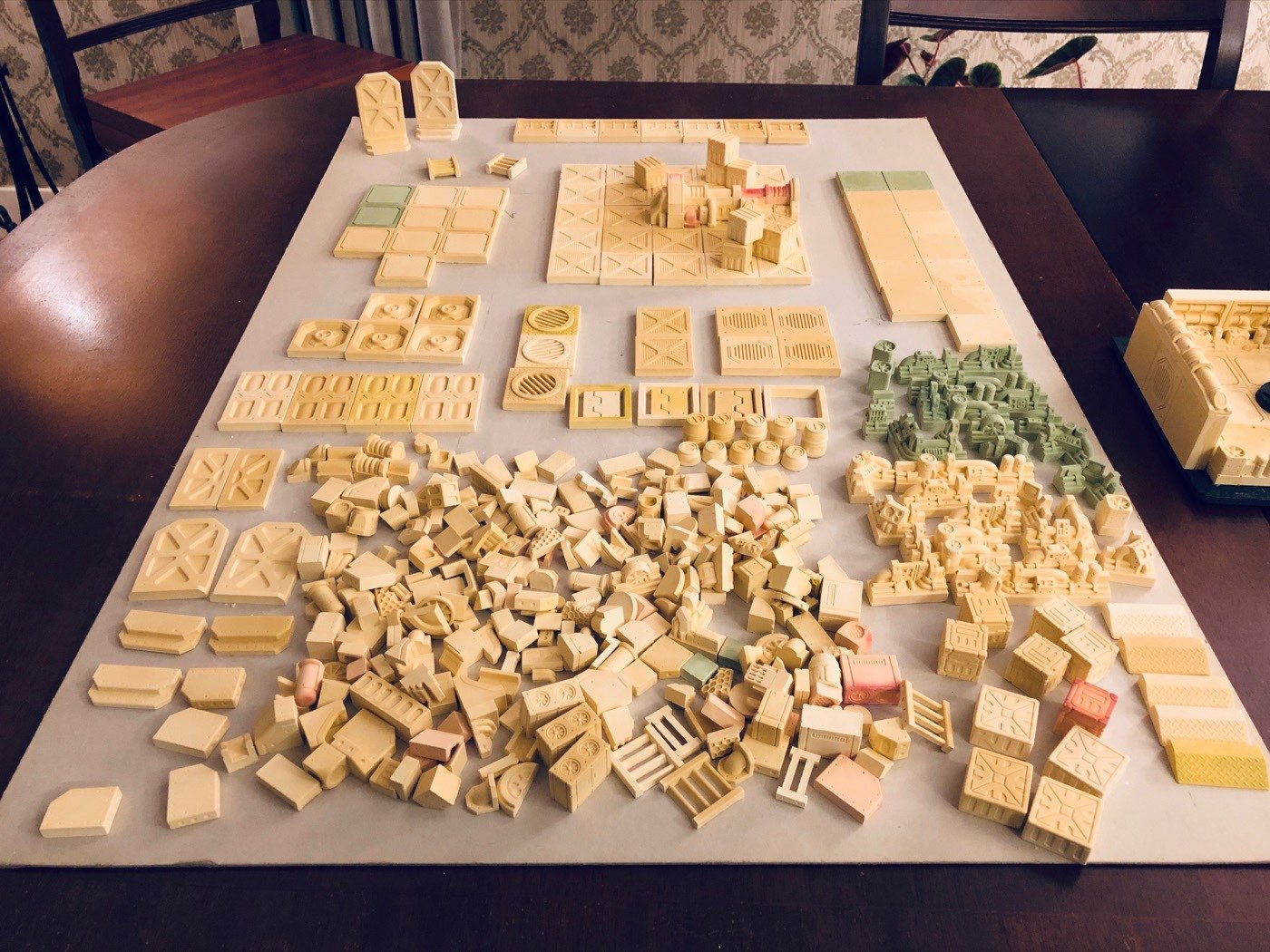 A table full of pieces