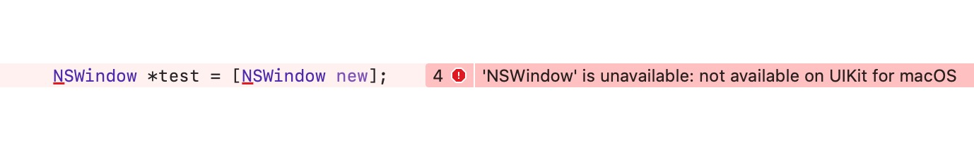 'NSWindow' is unavailable: not available on UIKit for macOS