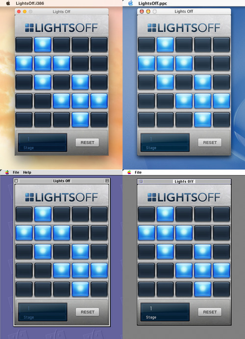 Lights Off running on OS X Intel, OS X PowerPC, Mac OS 9 and System 7